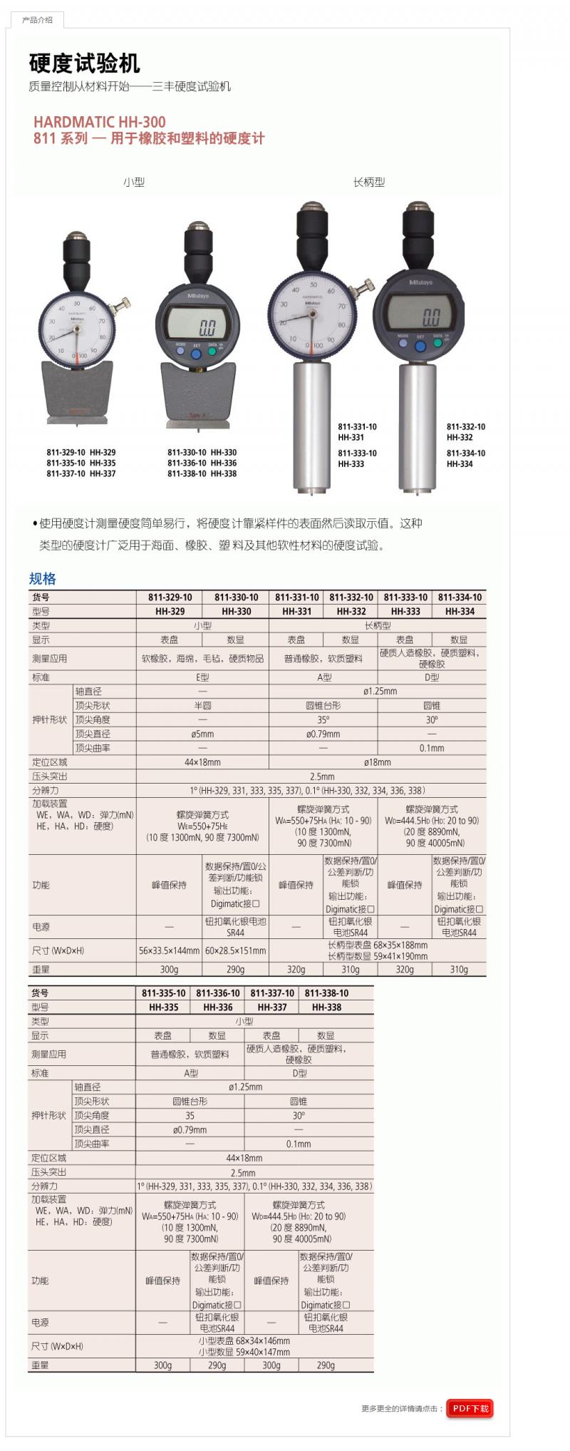 Mitutoyo日本三丰海绵 橡胶 塑料用手持硬度计HH-300长柄型HH-332