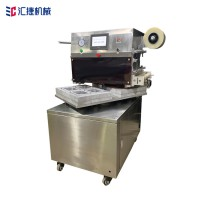 转盘式熟食盒保鲜气调包装机 冷鲜肉蔬菜盒式气调包装机