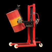手动抱箍可倾式油桶堆高车 铁桶翻转倒料车 塑料桶升高装卸叉车